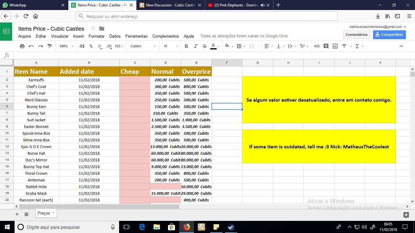 Spreadsheet Printscreen